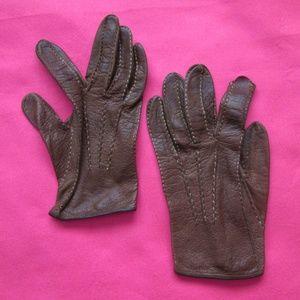 vintage dark brown leather gloves size 6